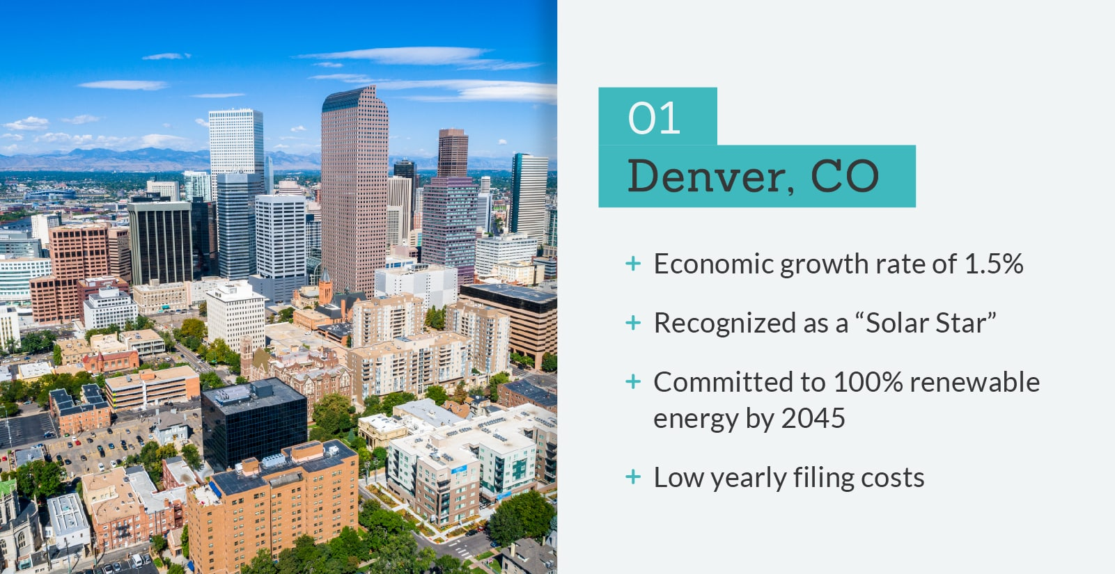 picture of Denver with statistics.