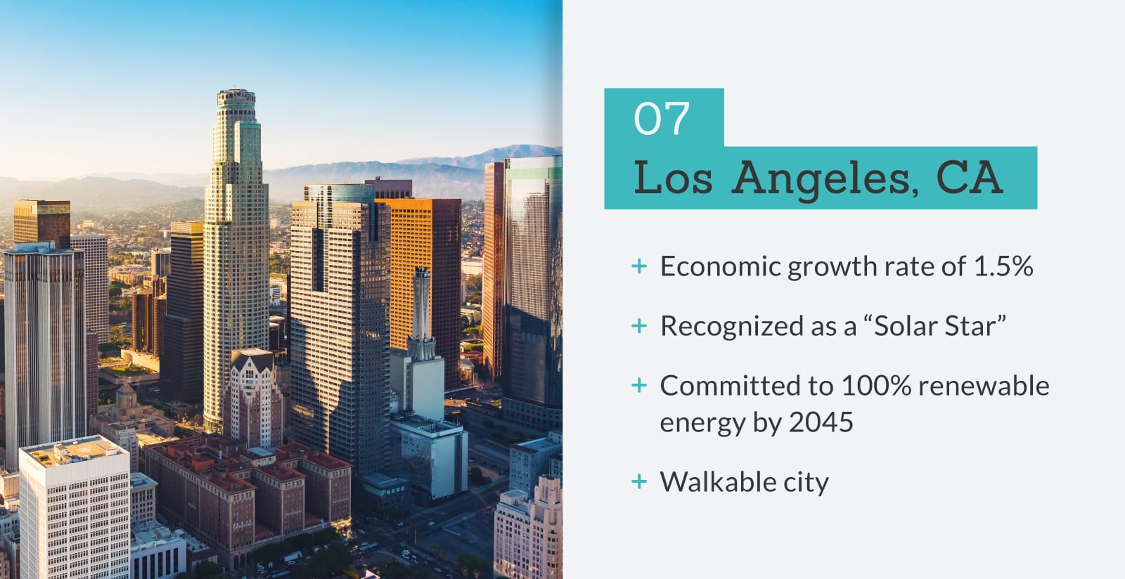 picture of Los Angeles, CA with stats.