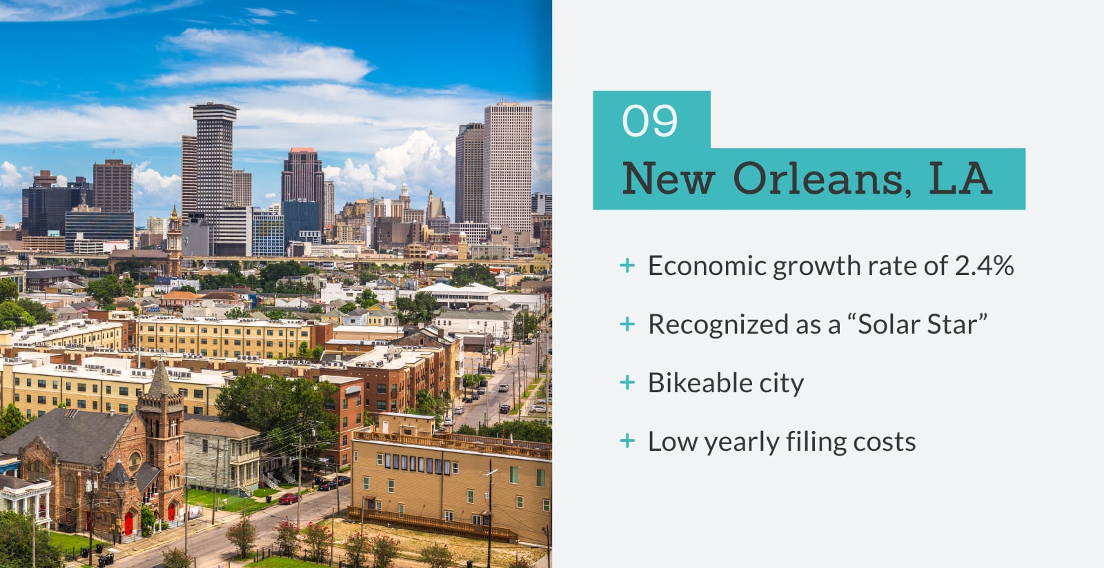 picture of New Orleans, LA with stats.
