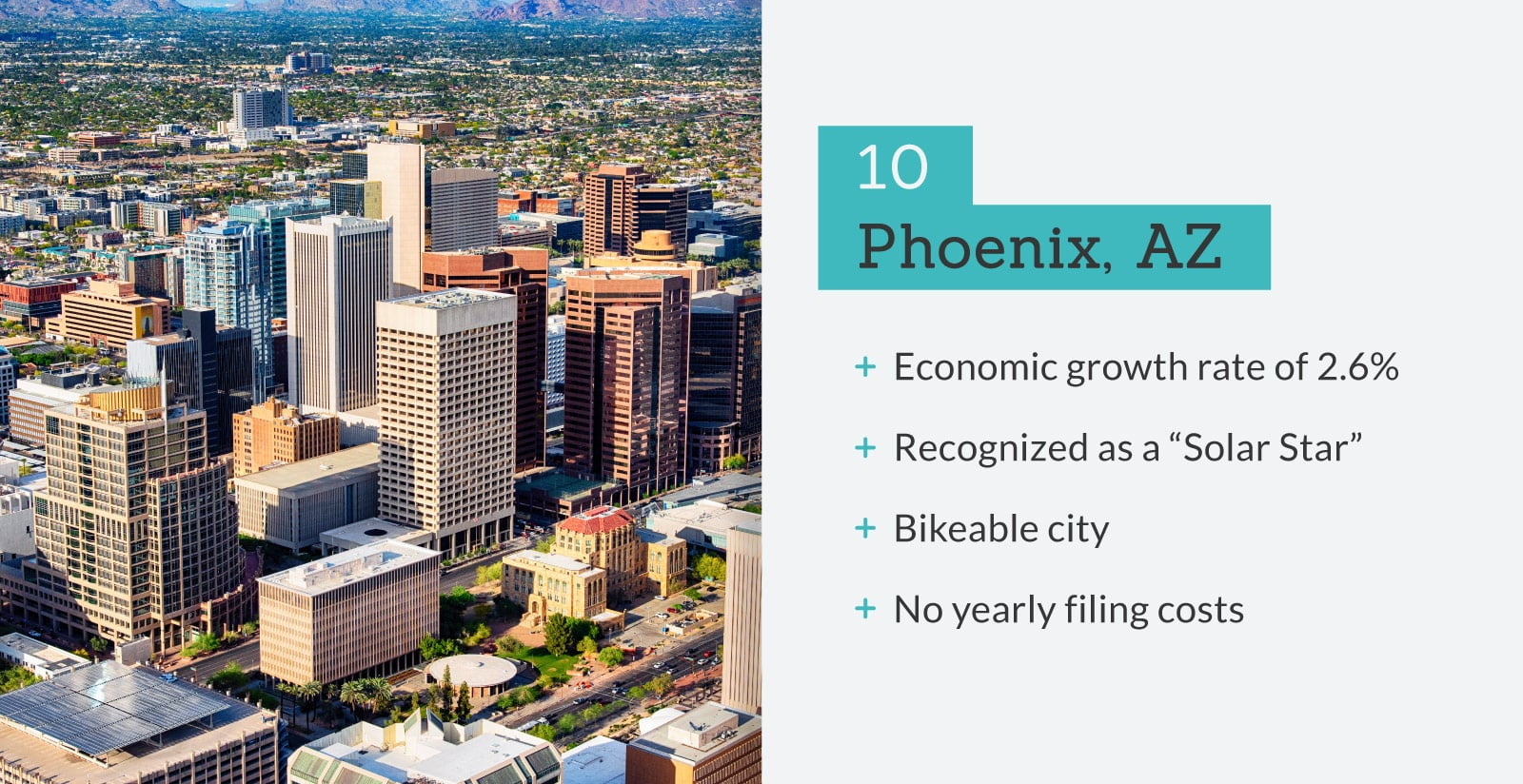 picture of Phoenix, AZ with stats.