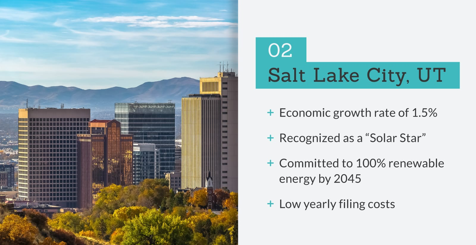 picture of Salt Lake City, UT with stats.