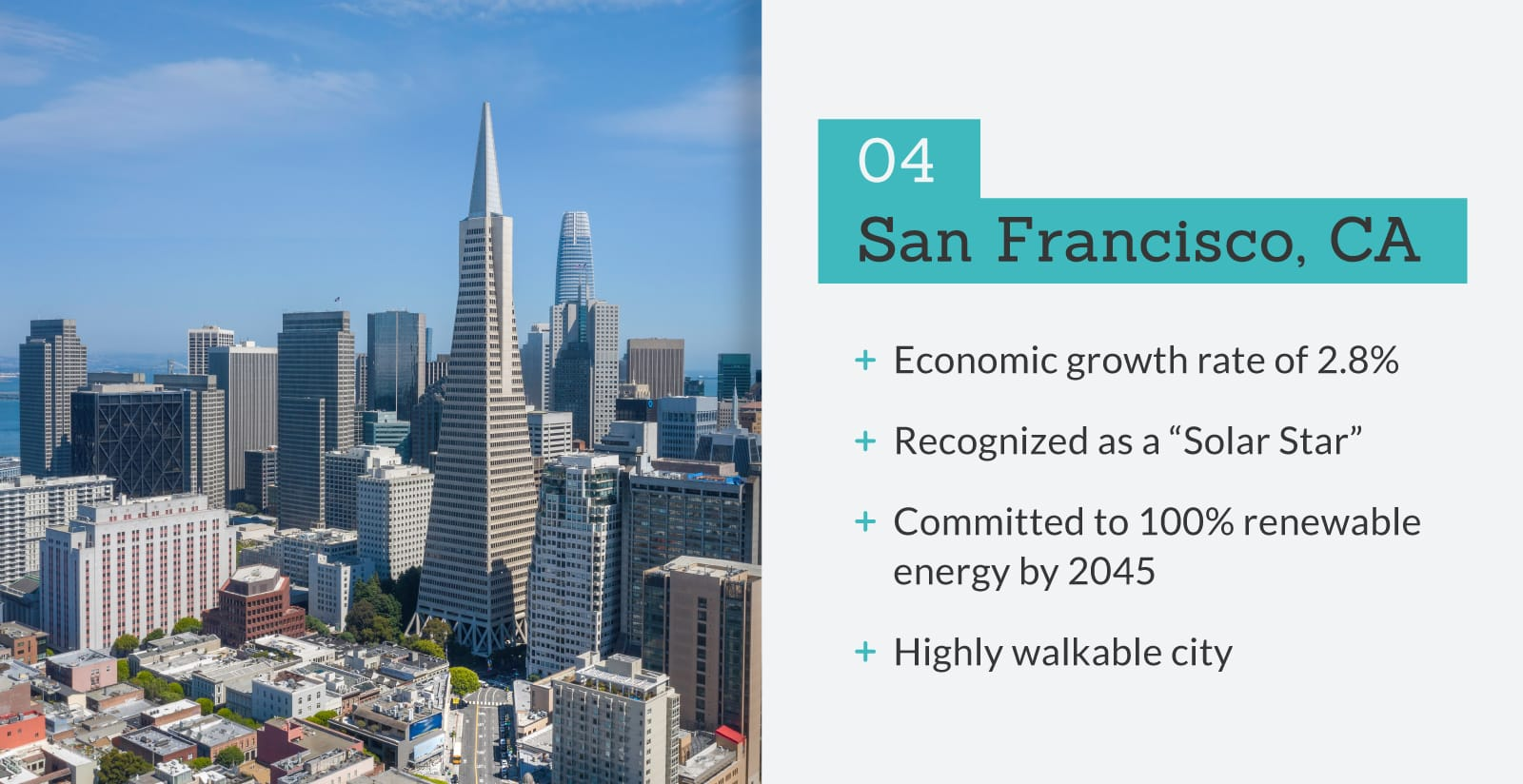 picture of San Fransisco, CA with stats.