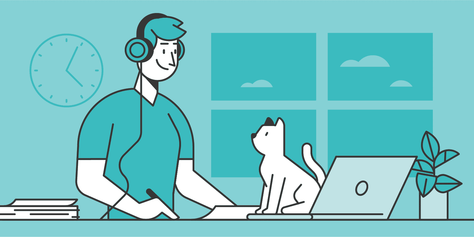 man working from home with a cat.